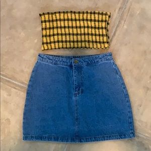 Cute tube top with Jean skirt